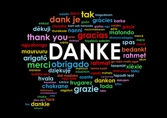 """""""DANKE"""" Wortwolke (Vielen Dank Schön Sehr Thank you)"""