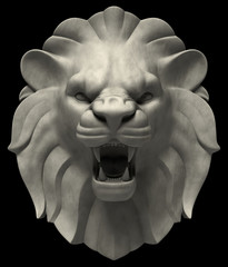 Artistic lion head sculpture, isolated on black background