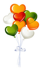 Heart balloons, in red and irish colors
