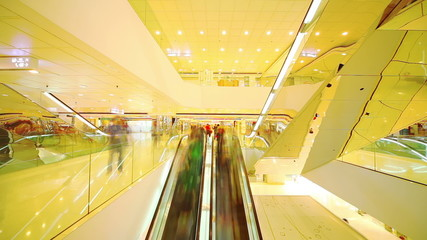 Shopping mall in HongKong. Timelapse