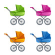 Set of colorful prams