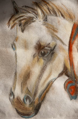 horse head drawn with pastel pencils