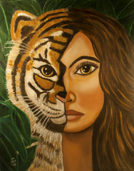 woman half tiger face oil painting by the artist Gloria Gill