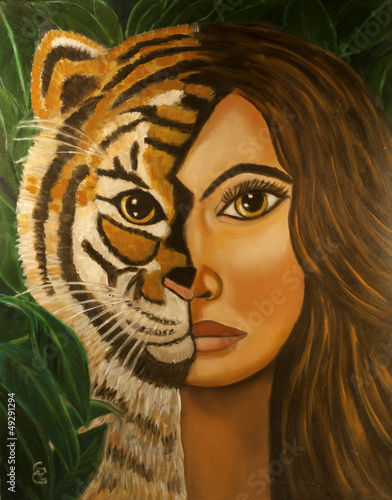 woman half tiger face oil painting by the artist Gloria Gill - 49291294