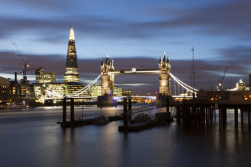 River Thames, The Shard and Tower Bridge  by night, London, UK