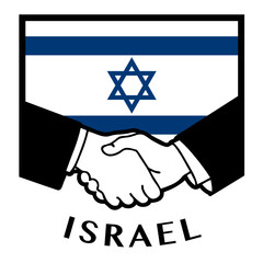 Israel flag and business handshake, vector illustration