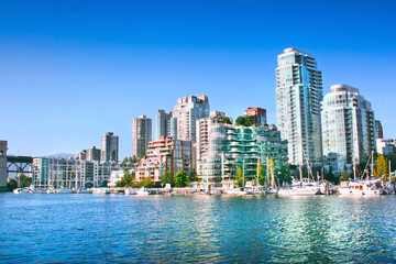 Vancouver skyline at False Creek, British Columbia, Canada