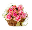 Roses in the Basket isolated on a White Background