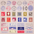 Vintage Postage Stamps, Marks, Stickers Vector Set