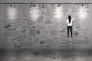 Teacher climb to write on whiteboard