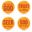 Vintage Christian buttons, yellow