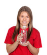 Portrait of a teen girl with a bottled water