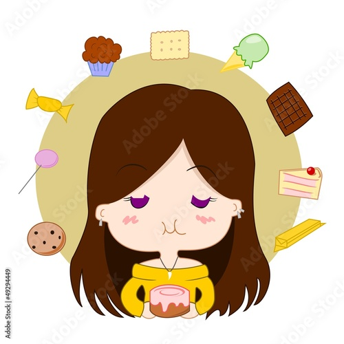 Girl and sweets