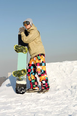 Snowboarder standing with board