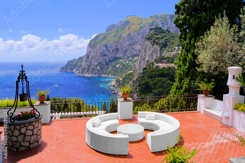 View from a luxurious terrace on the island of Capri, Italy