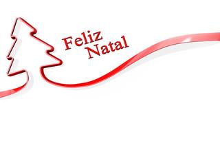 Christmas Tree Ribbon merry Christmas Portuguese Language