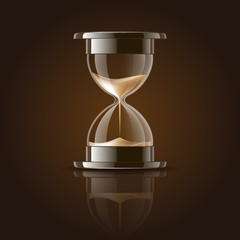Sand falling in the hourglass.