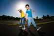 Active young people - rollerblading, skateboarding
