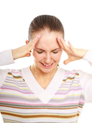 Woman holds head with pain, isolated on white background