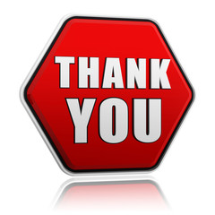 thank you in red hexagon banner