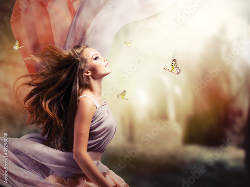 Poster Beautiful Girl in Fantasy Mystical and Magical Spring Garden