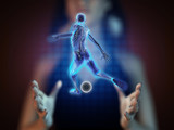 soccer game player on hologram poster