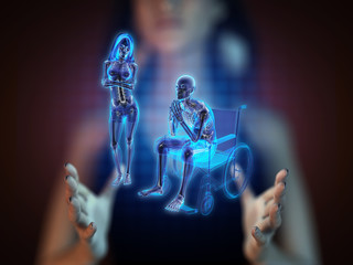 Man in wheelchair on hologram