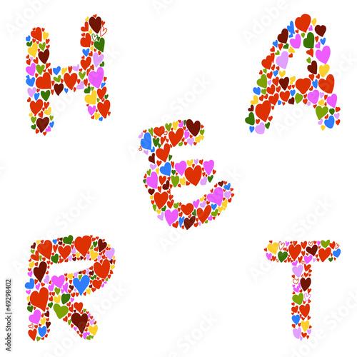 hand-drawn heart-shaped alphabet