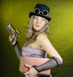 Steampunk woman with gun.