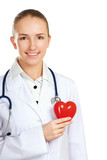 Positive female doctor standing with stethoscope