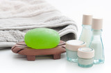Spa Package with aloe vera soap, towel and lotion bottles