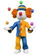 3D white people. Clown juggler