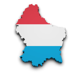 Luxembourg Flag Map Shape