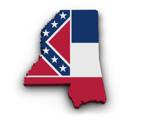Mississippi Flag Map Shape