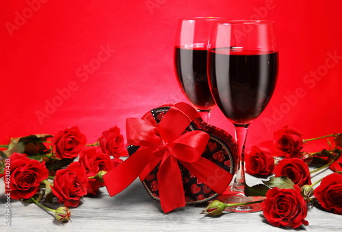 Romantic Valentine Still Life with Wine and Roses