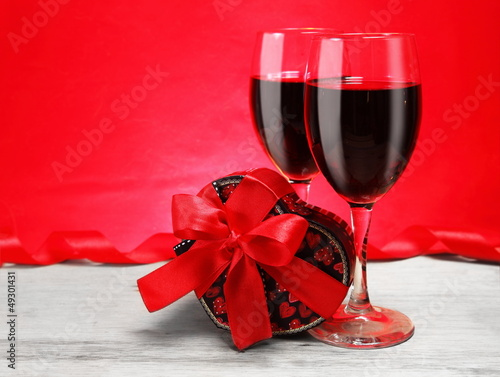 Romantic Valentine Still Life with Wine