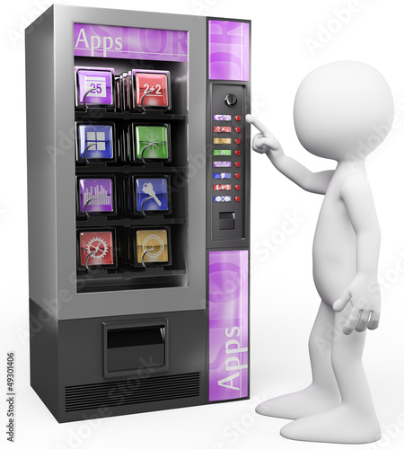 3D white people. Apps vending machine