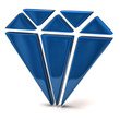 3d illustration of blue diamond icon