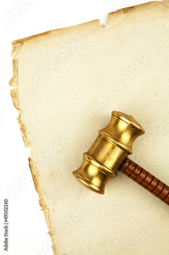 gavel on old paper