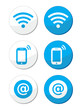 Wifi network, internet zone blue labels set - vector