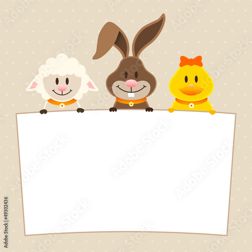 Card Lamb, Bunny & Duck Label Dots Beige