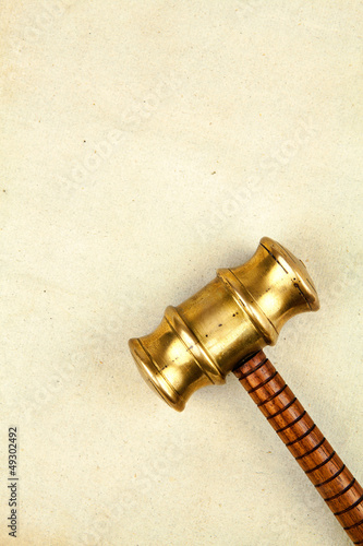 gavel on parchment paper