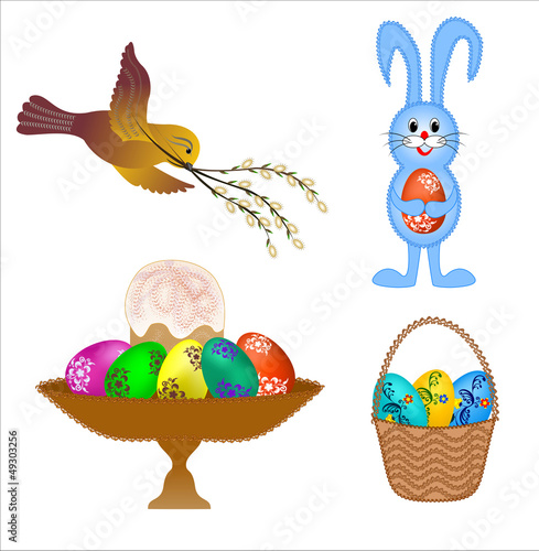 four isolated set  for Easter cards