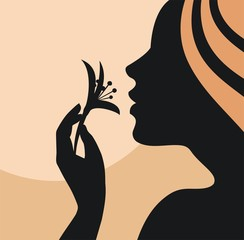 Young woman with flower-vector illustration