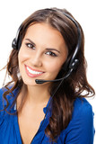 Support phone operator in headset, isolated