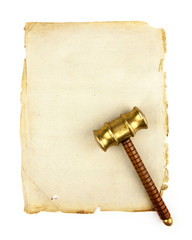 gavel on blank parchment
