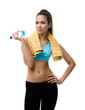 Sporty woman with bottle of water and yellow towel