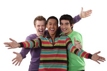 Three friends cheering.