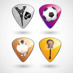 Guitar picks or plectrums with custom designs