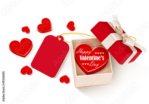 Open gift box with hearts and label